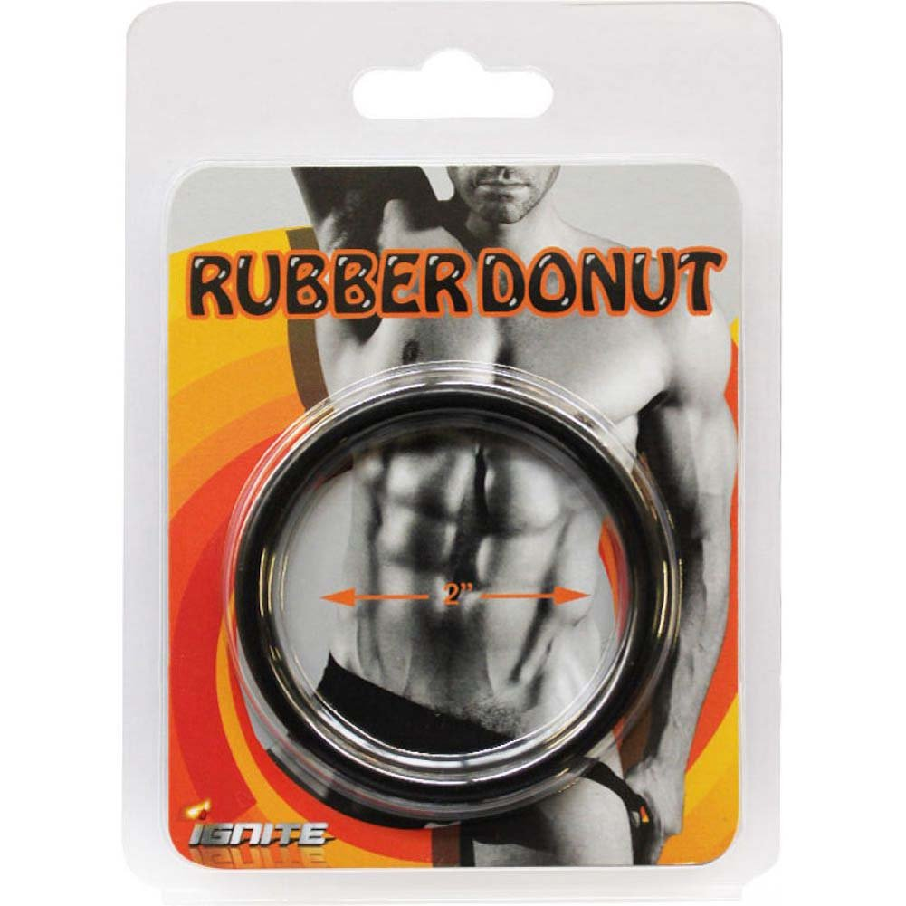 "SI Novelties Rubber Donut 2"" Cock Ring Black - View #1"