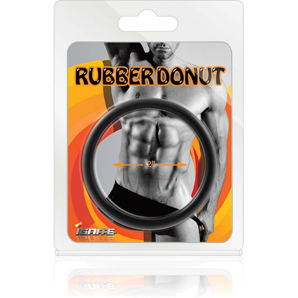 "SI Novelties Rubber Donut 2"" Cock Ring Black - View #3"