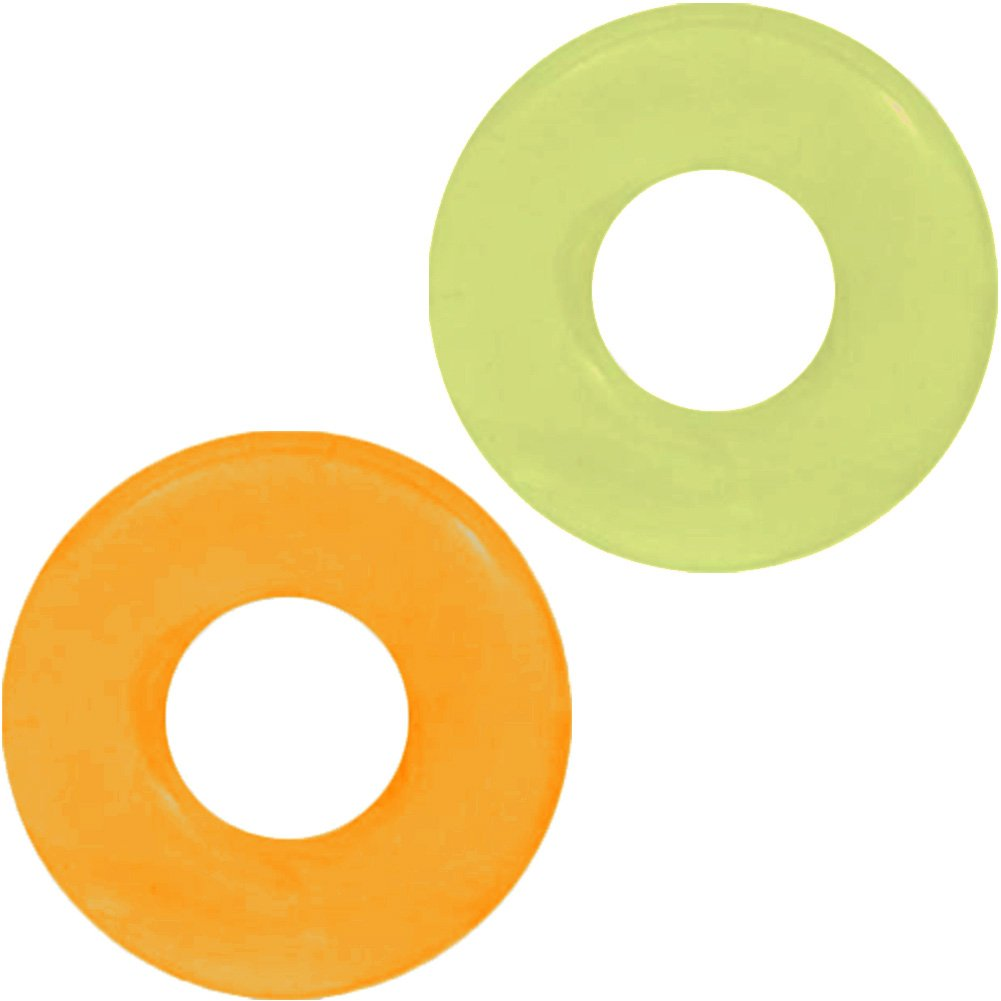 SI Novelties Ignite Thick Power Stretch Donut Cock Rings Pack of 2 Erection Rings Orange/Green - View #2