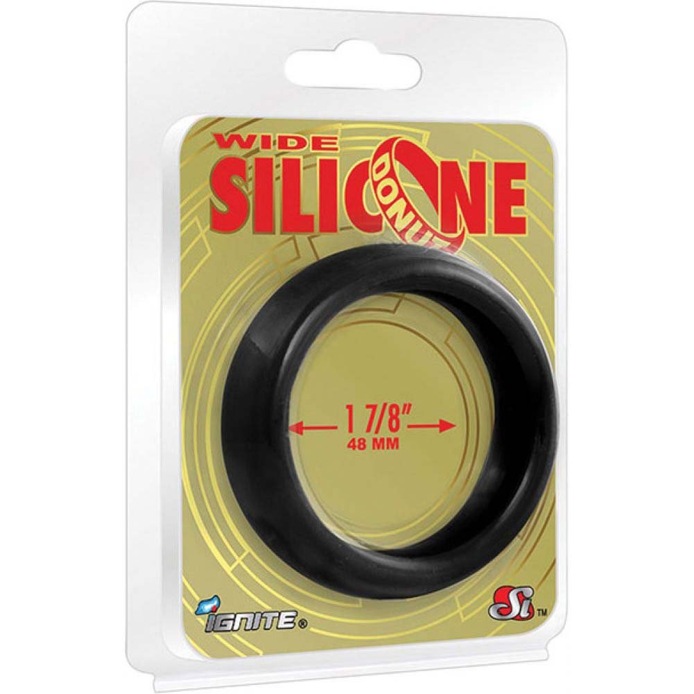 "SI Novelties Wide Silicone Donut Cockring for Men 1.88"" Black - View #1"