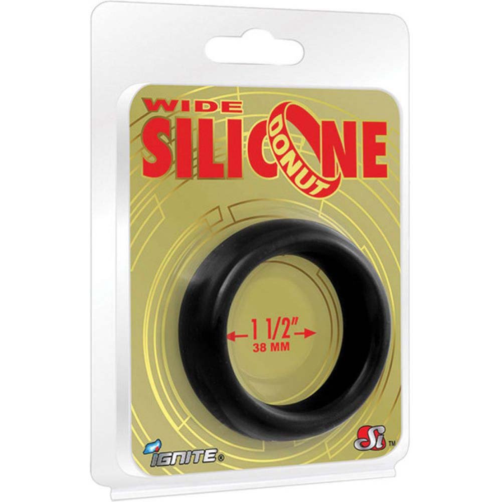"SI Novelties Wide Silicone Donut Cockring for Men 1.5"" Black - View #1"