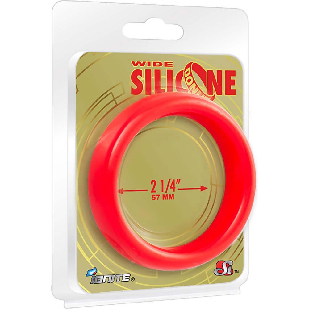 "SI Novelties Wide Silicone Donut Cockring for Men 2.25"" Red - View #1"