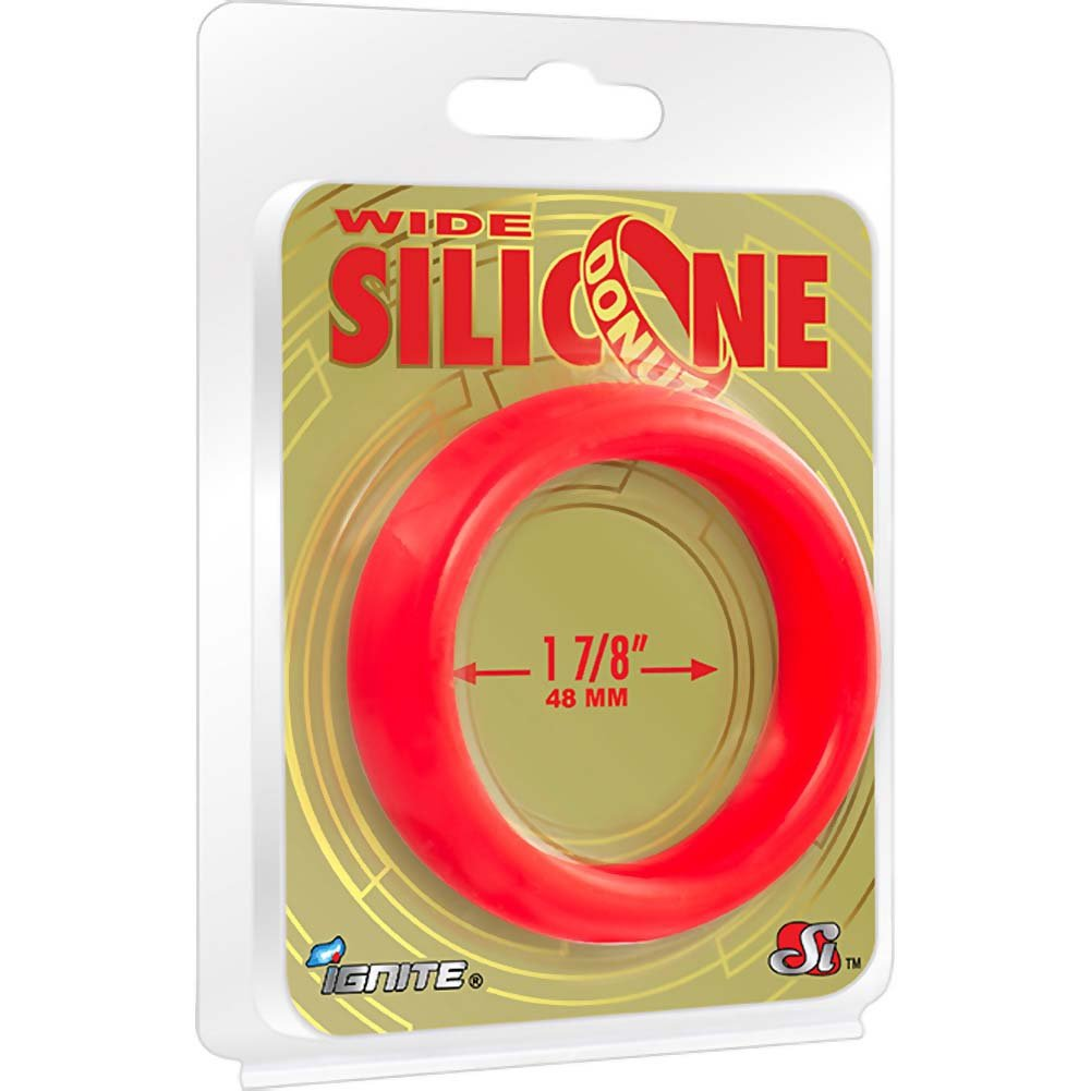 "SI Novelties Wide Silicone Donut Cockring for Men 1.88"" Red - View #1"