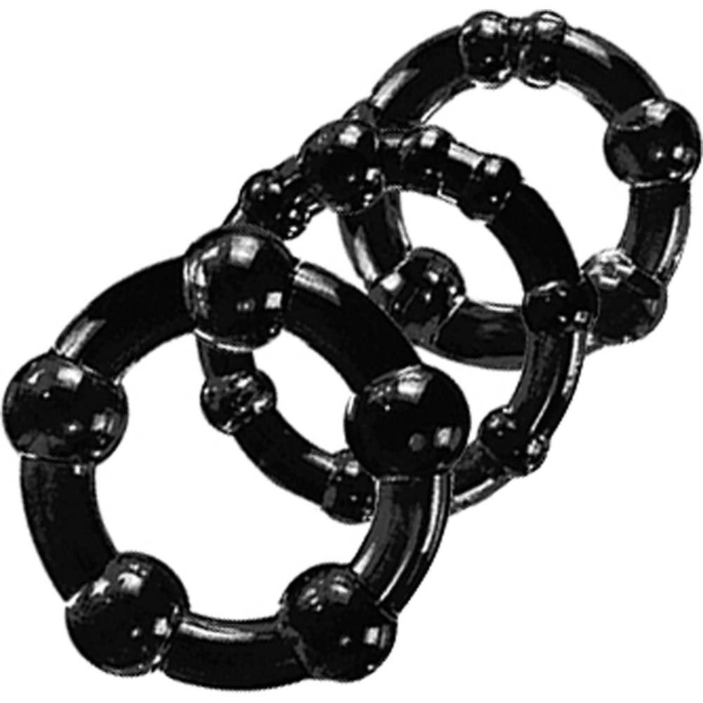 Blush Novelties Stay Hard Beaded Cock Rings 3 Pack Black - View #3