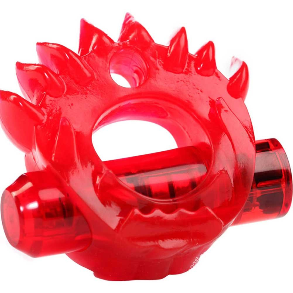 Crossbones Flame Thrower Single Bullet Vibrating Cockring Red - View #2