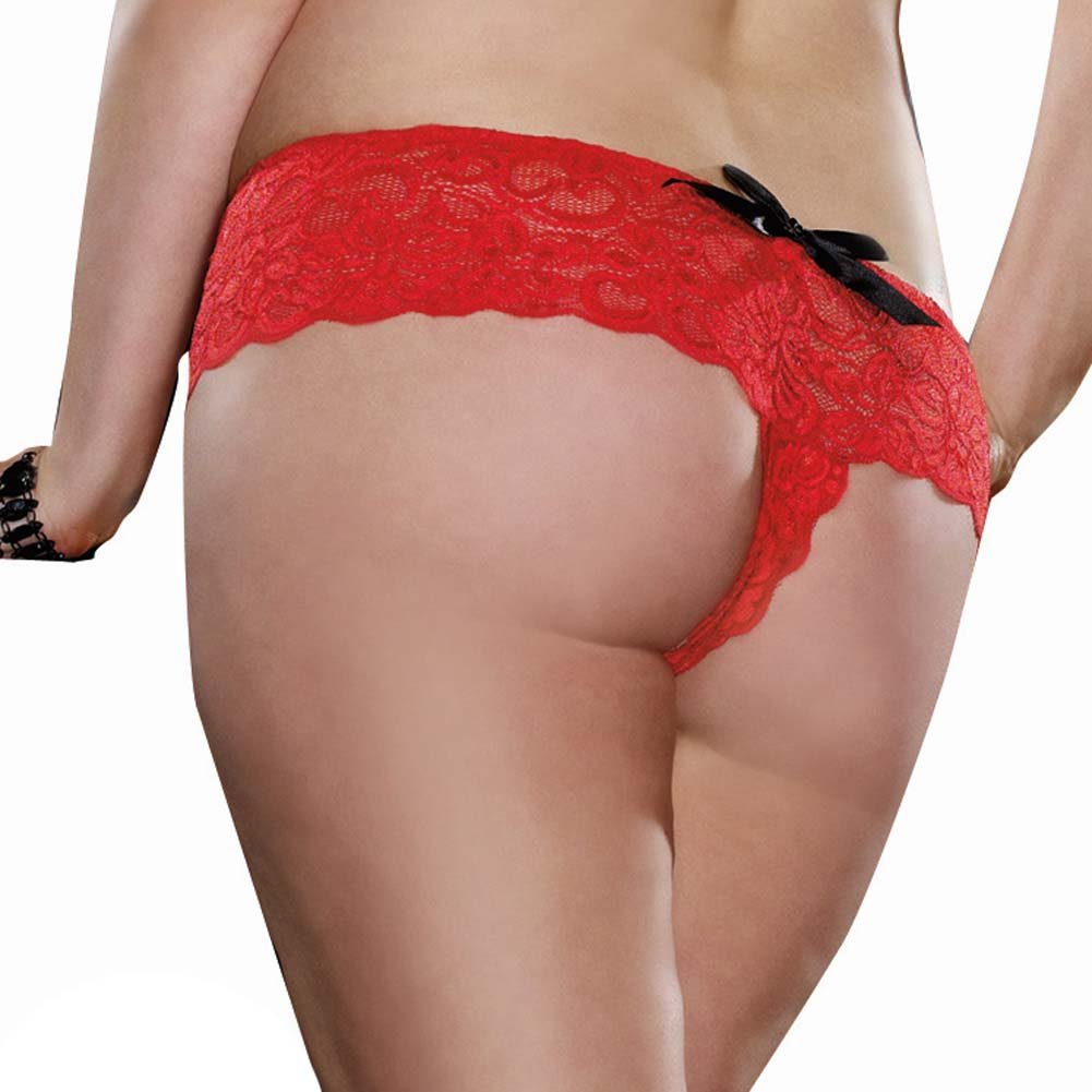 Dreamgirl Stretch Lace Open Crotch Boyshort Panty Plus Size 1X/2X Ruby Red - View #2