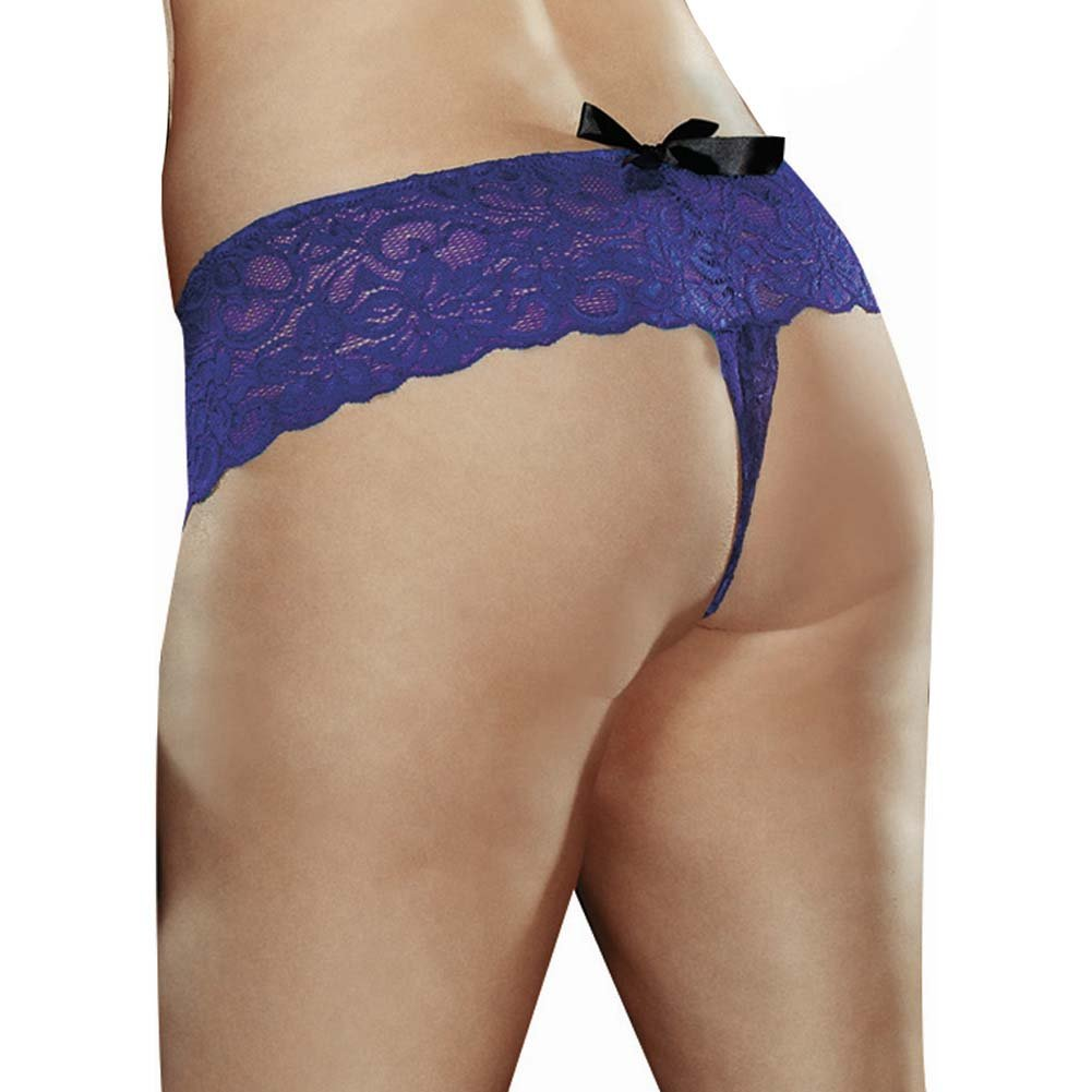 Dreamgirl Stretchy Lace Open Crotch Boy Short Panty 3X/4X Sapphire - View #2