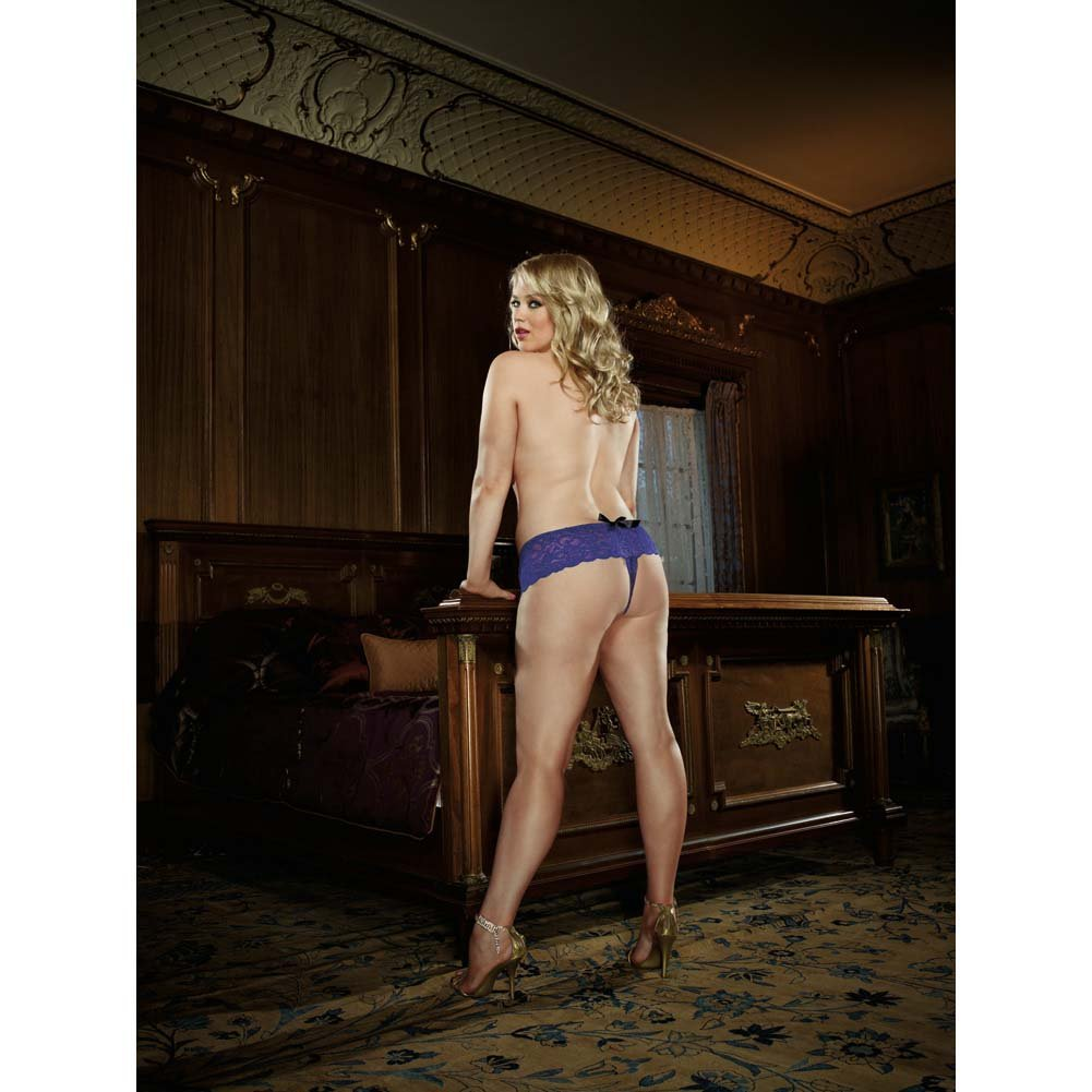 Dreamgirl Stretchy Lace Open Crotch Boy Short Panty 3X/4X Sapphire - View #4
