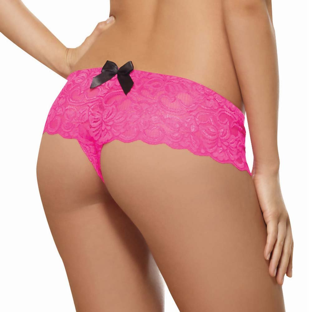 Dreamgirl Stretchy Lace Open Crotch Boy Short Panty Large Hot Pink - View #2