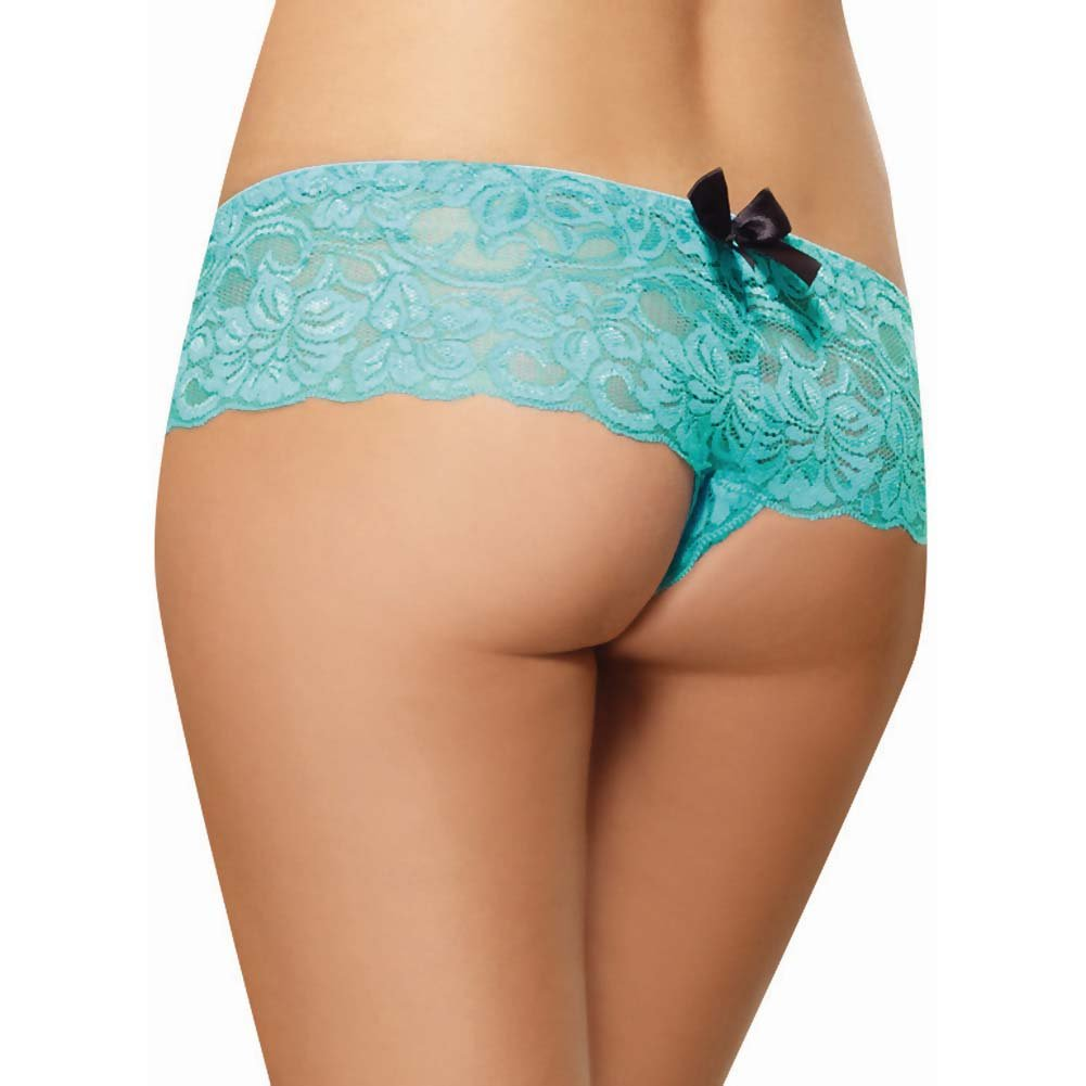 Dreamgirl Stretch Lace Open Crotch Boyshort Panty Large Turquoise - View #2
