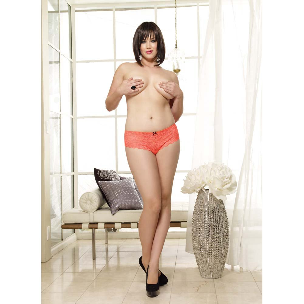 Dreamgirl Lace Open Crotch Boyshort Panty 1X/2X Coral - View #3