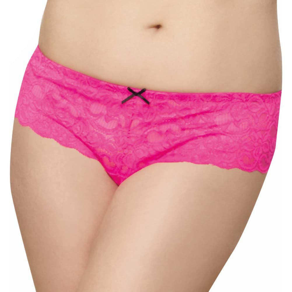 Dreamgirl Stretch Lace Open Crotch Boyshort Panty Plus Size 1X/2X Hot Pink - View #1