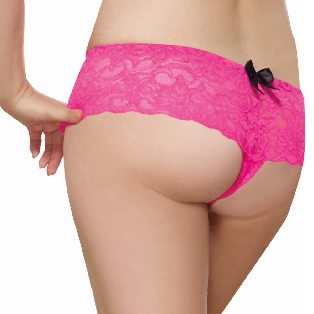 Dreamgirl Stretch Lace Open Crotch Boyshort Panty Plus Size 3X/4X Hot Pink - View #2