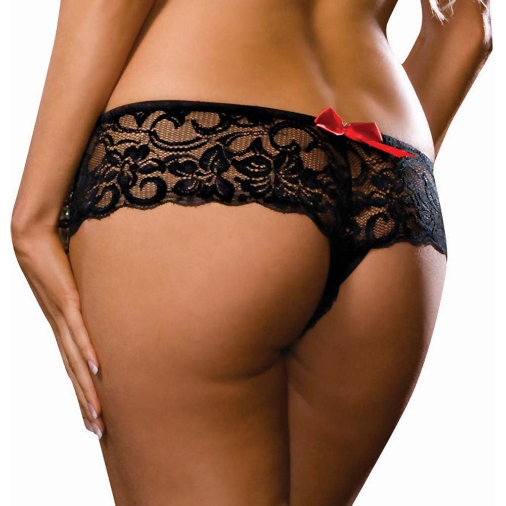 Dreamgirl Stretchy Lace Open Crotch Boy Short Panty 3X/4X Classic Black - View #2