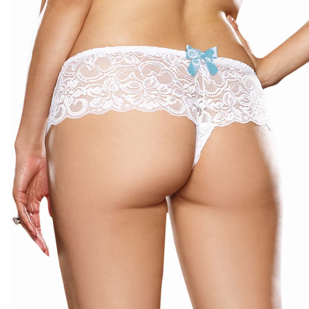 Dreamgirl Stretchy Lace Open Crotch Boy Short Panty 1X/2X Wedding Night White - View #2