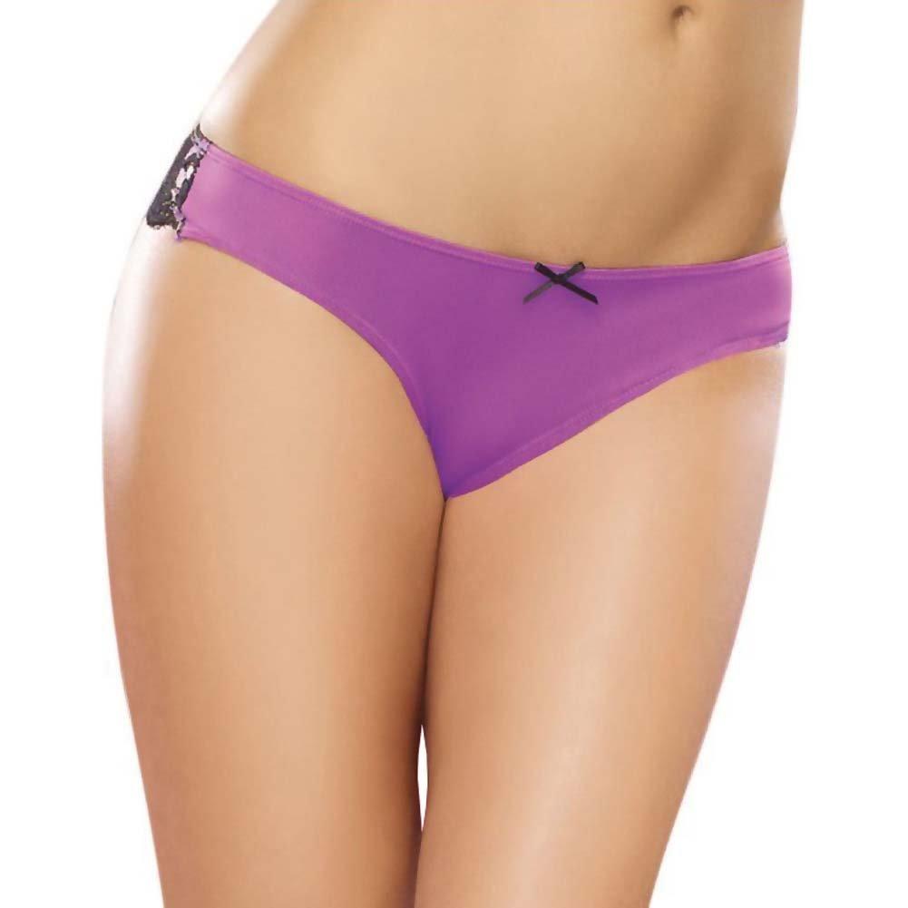 Microfiber Cheeky Panty W/Cross Dye Lace Back Satin Bow Trim Medium Iris/Black - View #2