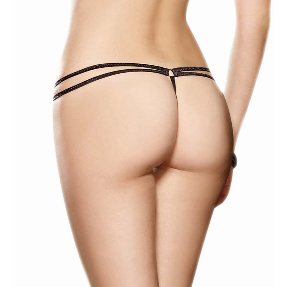 Dreamgirl Strappy Fishnet Thong Panty with Feather Tickler Small/Medium Black - View #2