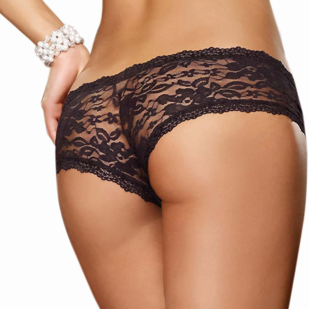 Dreamgirl Stretch Lace Low Rise Cheeky Hipster Panty Small Black - View #2