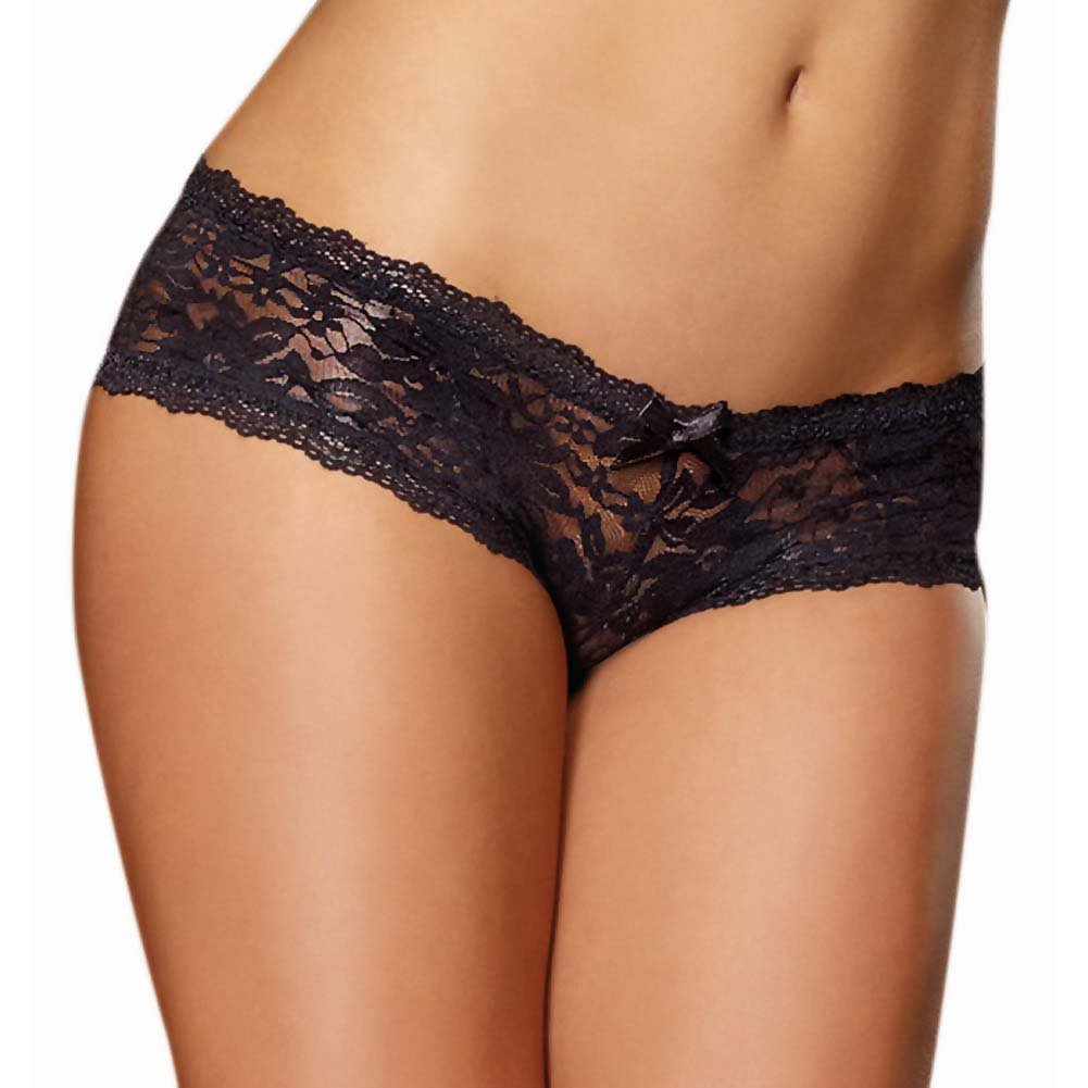 Dreamgirl Stretch Lace Low Rise Cheeky Hipster Panty Extra Large Black - View #1