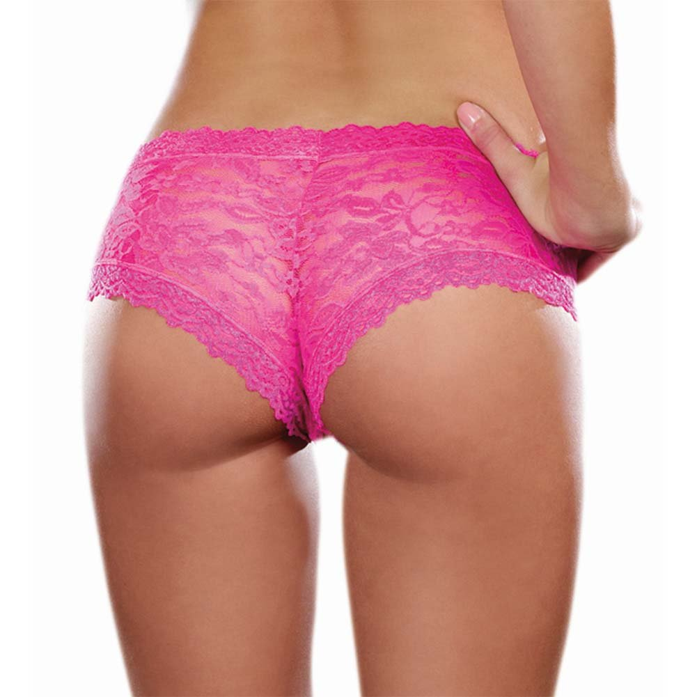 Dreamgirl Stretch Lace Low Rise Cheeky Hipster Panty Large Hot Pink - View #2
