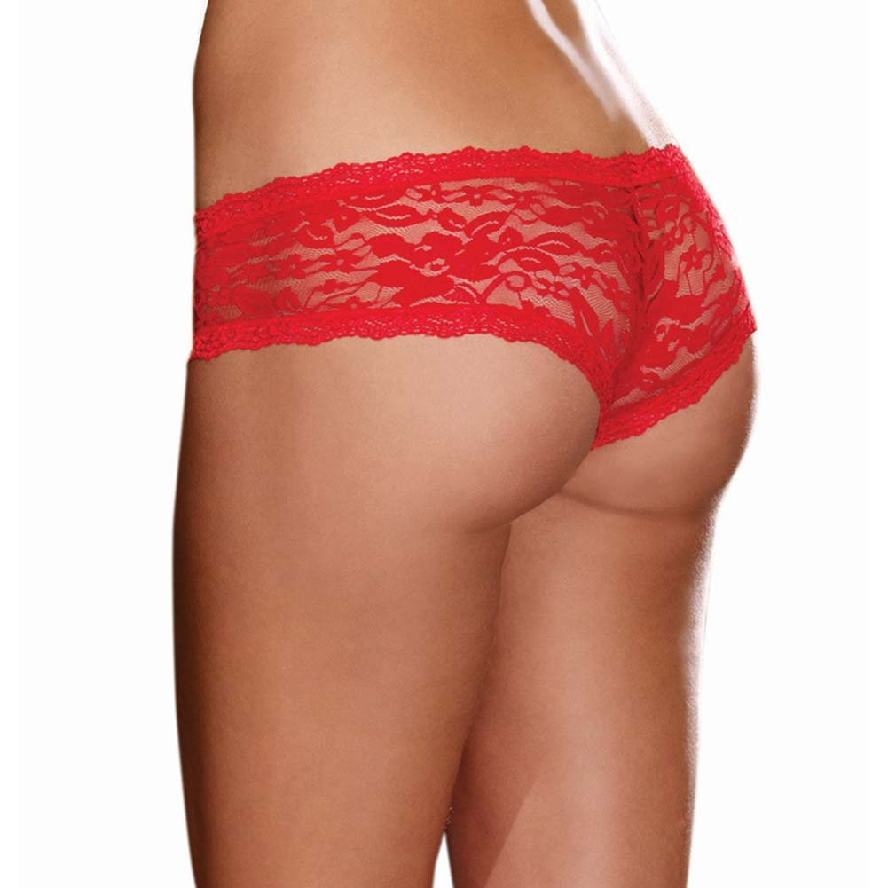 Dreamgirl Stretch Lace Low Rise Cheeky Hipster Panty Medium Red - View #2