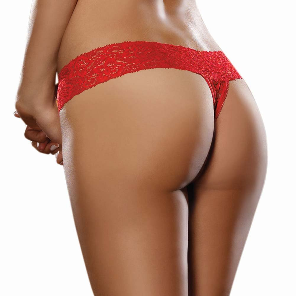 Dreamgirl Stretch Lace Low Rise Thong with Lace Waistband One Size Red - View #2