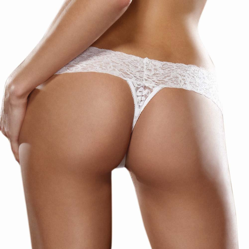 Dreamgirl Stretchy Lace Low Rise Thong with Lace Waistband One Size Wedding Night White - View #2