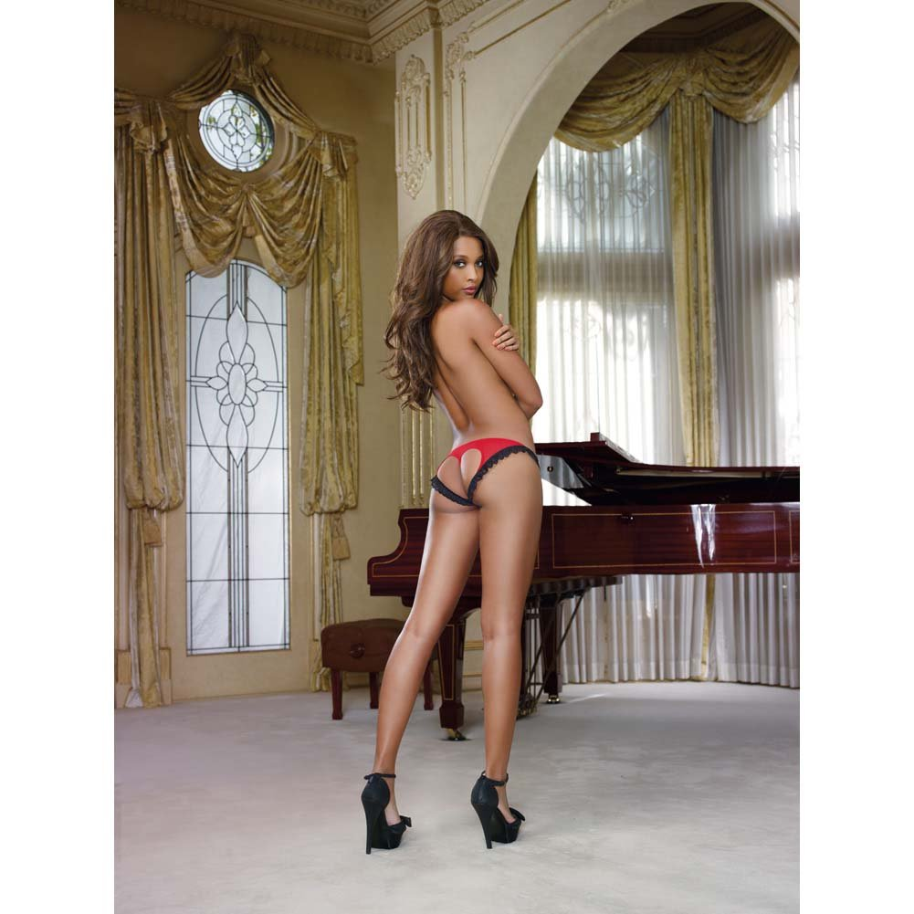 Dreamgirl Stretch Mesh Bikini Panty with Open Back Heart Cutout Small Black/Red - View #3