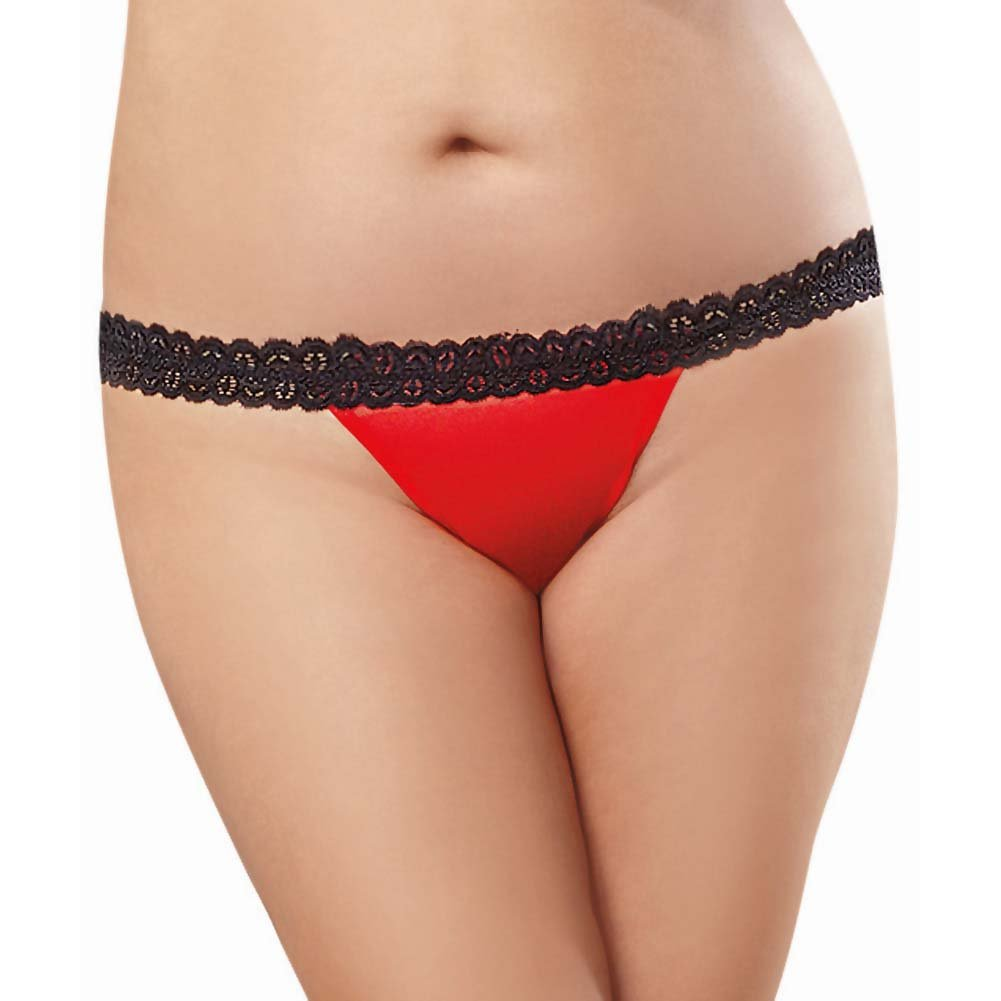 Dreamgirl Stretch Mesh Bikini Panty with Open Back Heart Cutout 3X/4X Black/Red - View #2