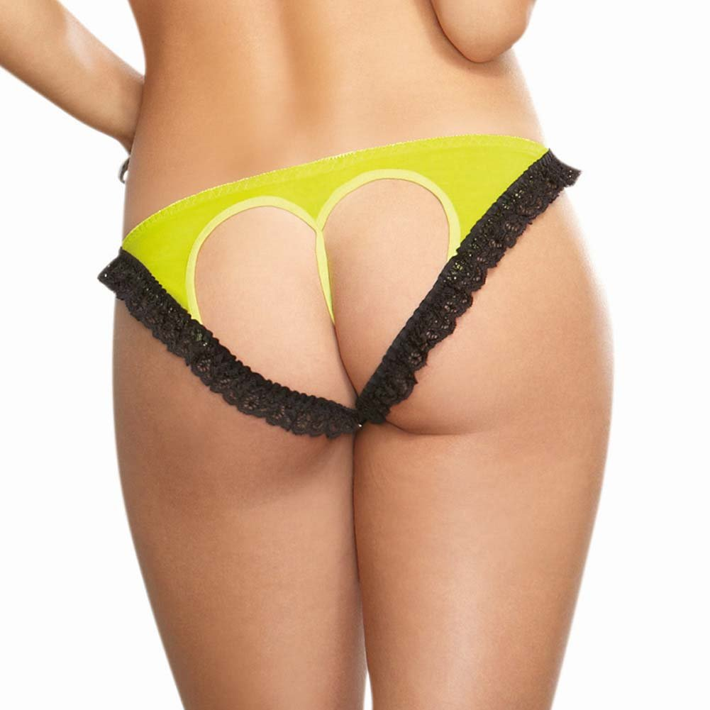 Dreamgirl Stretch Mesh Bikini Panty with Open Back Heart Cutout Medium Lime/Black - View #1
