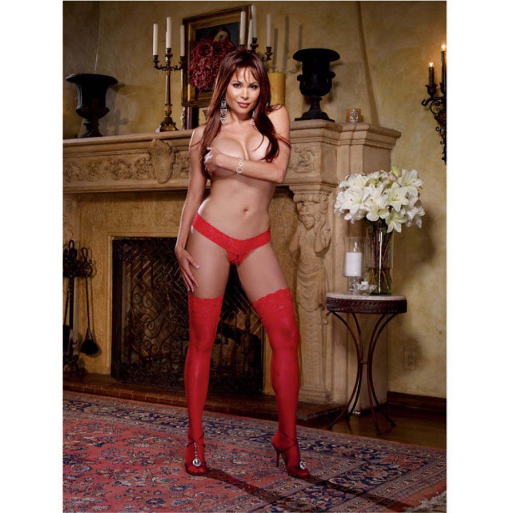 Dreamgirl Stay Up Sheer Thigh High with Lace Top Queen Size Red - View #3
