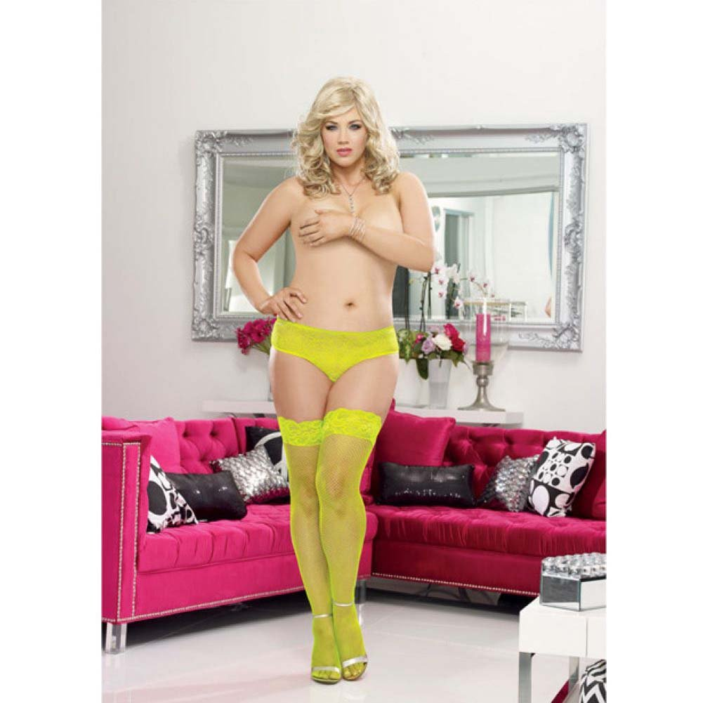 Dreamgirl Fishnet Stay Up Thigh High with Seam Plus Size Queen Lime - View #3
