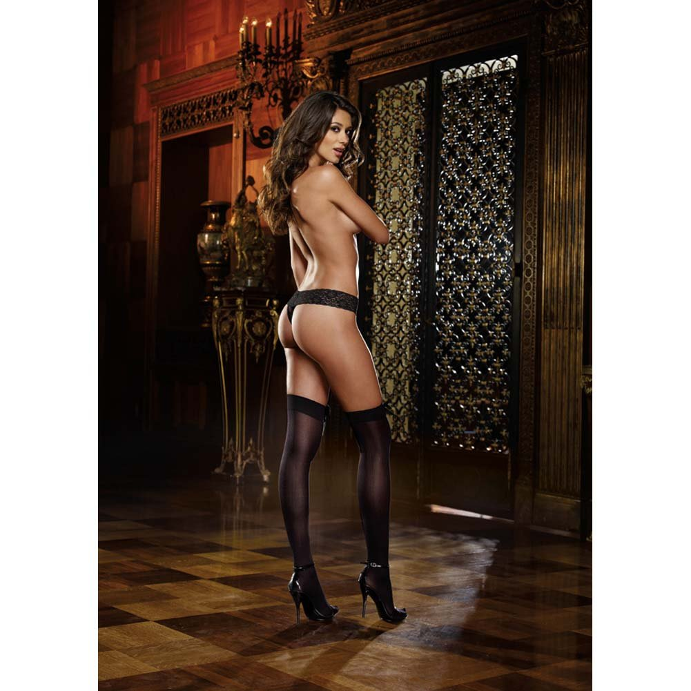 Dreamgirl Opaque Thigh High with Satin Bow One Size Black - View #4