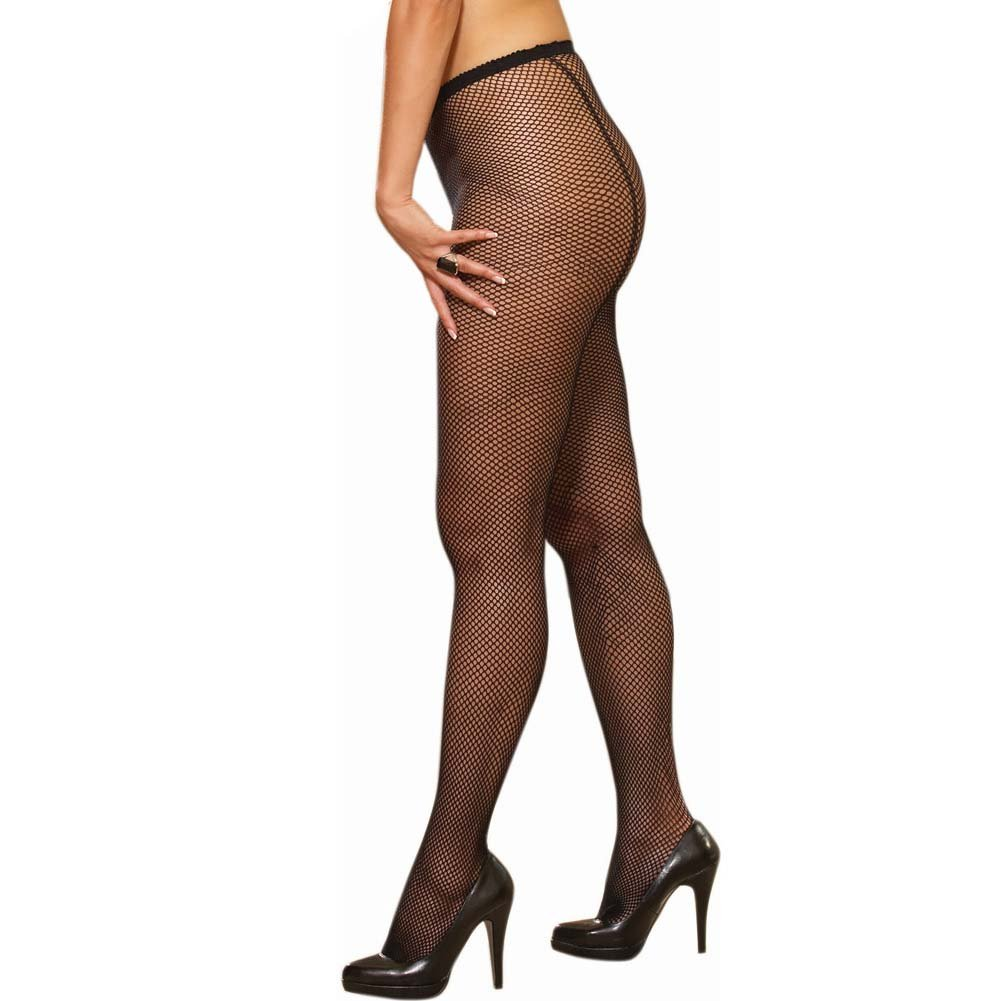 Dreamgirl Fence Net Barcelona Pantyhose Queen Size Black - View #2
