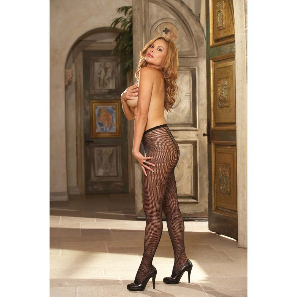 Dreamgirl Fence Net Barcelona Pantyhose Queen Size Black - View #4