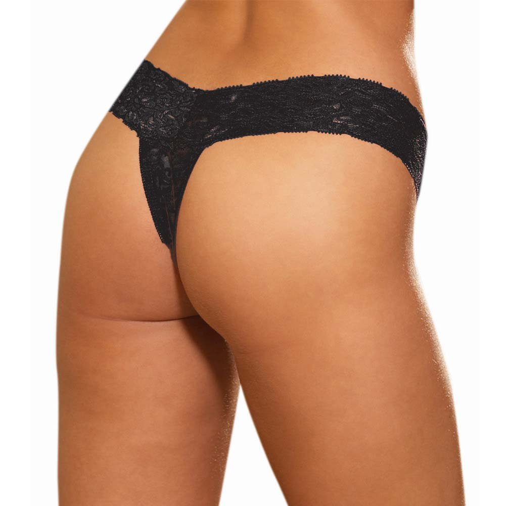 Dreamgirl Stretch Lace Crotchless Thong One Size Black - View #2
