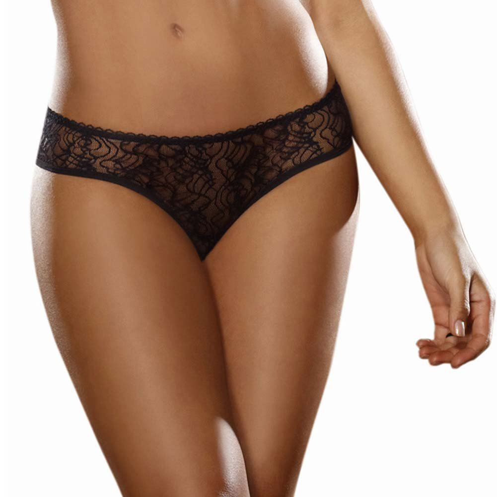 Dreamgirl Stretch Lace Crotchless Low Rise Panty with Ruffled Back Small Black - View #2