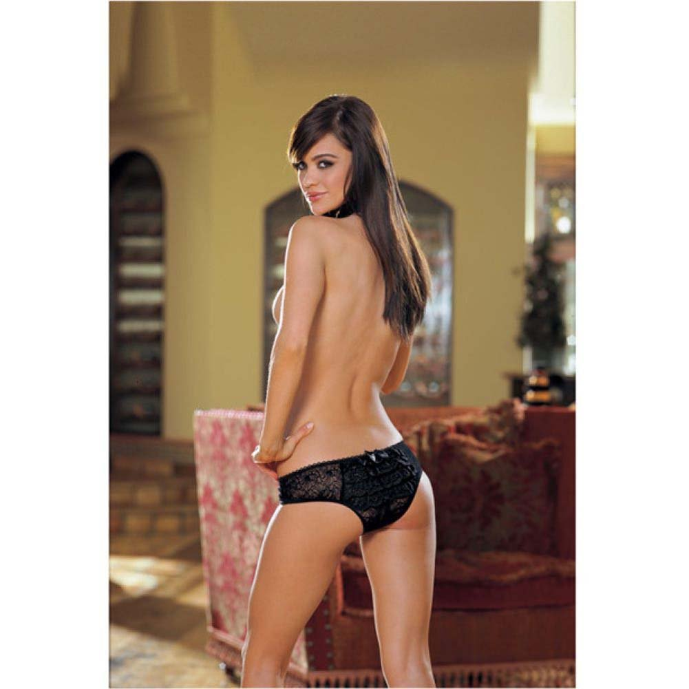 Dreamgirl Stretch Lace Crotchless Low Rise Panty with Ruffled Back Large Black - View #3