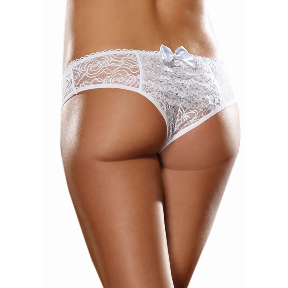 Dreamgirl Stretch Lace Crotchless Low Rise Panty with Ruffled Back Large White - View #1