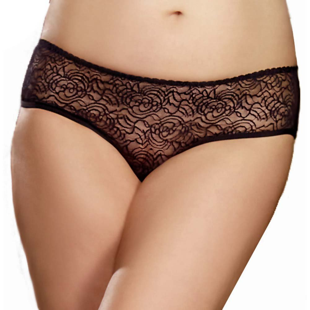 Dreamgirl Stretch Lace Crotchless Low Rise Panty with Ruffled Back 1X/2X Black - View #2