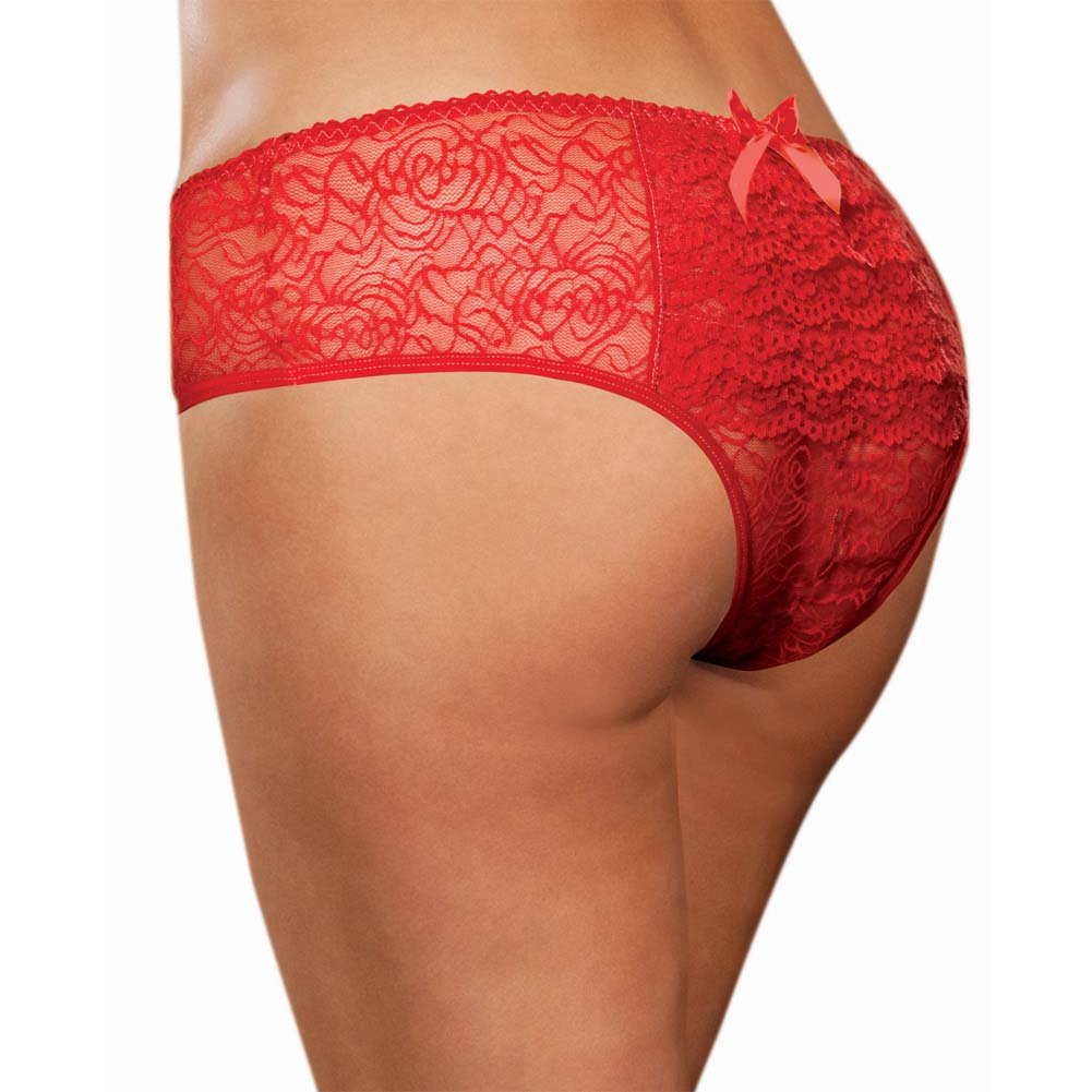 Dreamgirl Stretch Lace Crotchless Ruffled Panty 1X/2X Red - View #1