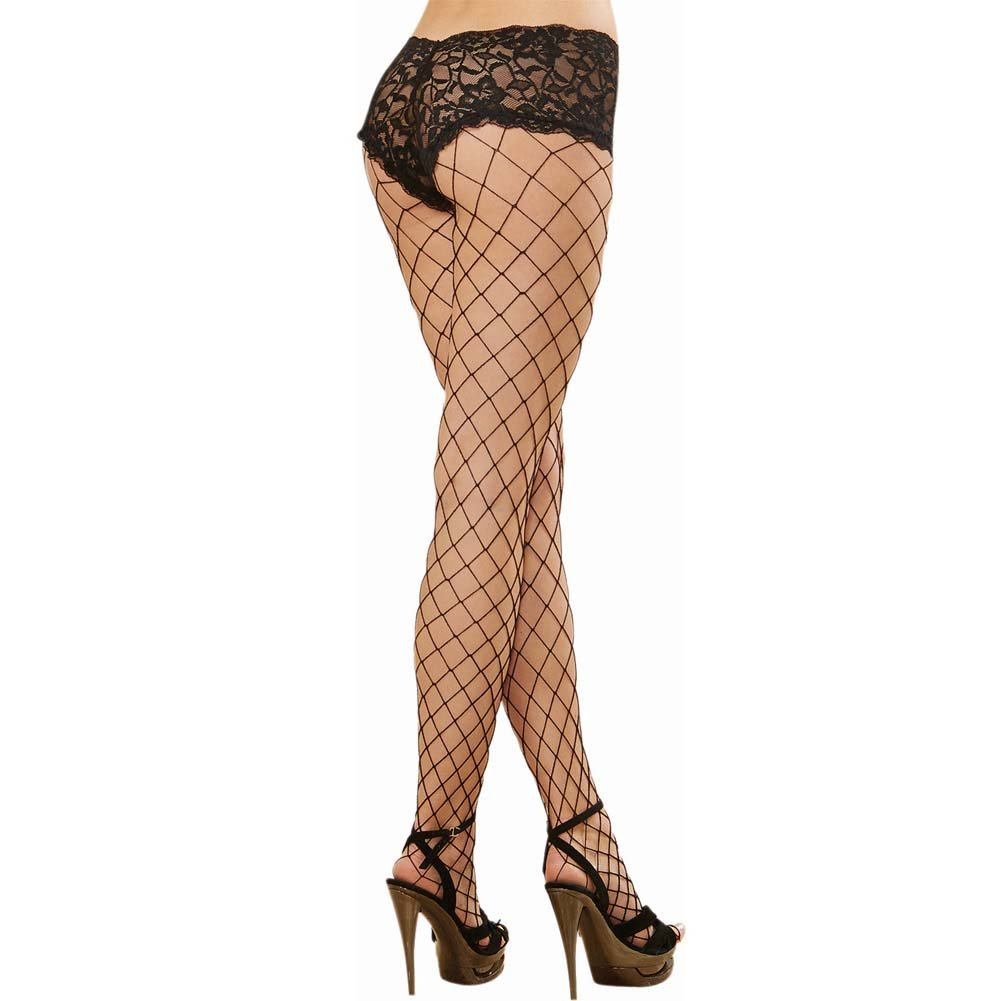 Dreamgirl Monaco Fence Net Pantyhose with Lace Boyshort Top One Size Black - View #2