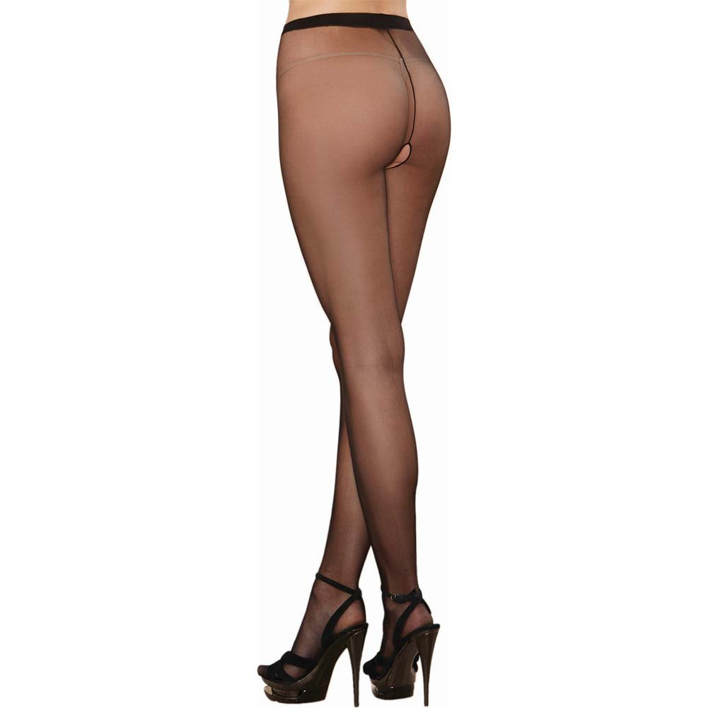 Dreamgirl Sheer Crotchless Pantyhose One Size Black - View #1