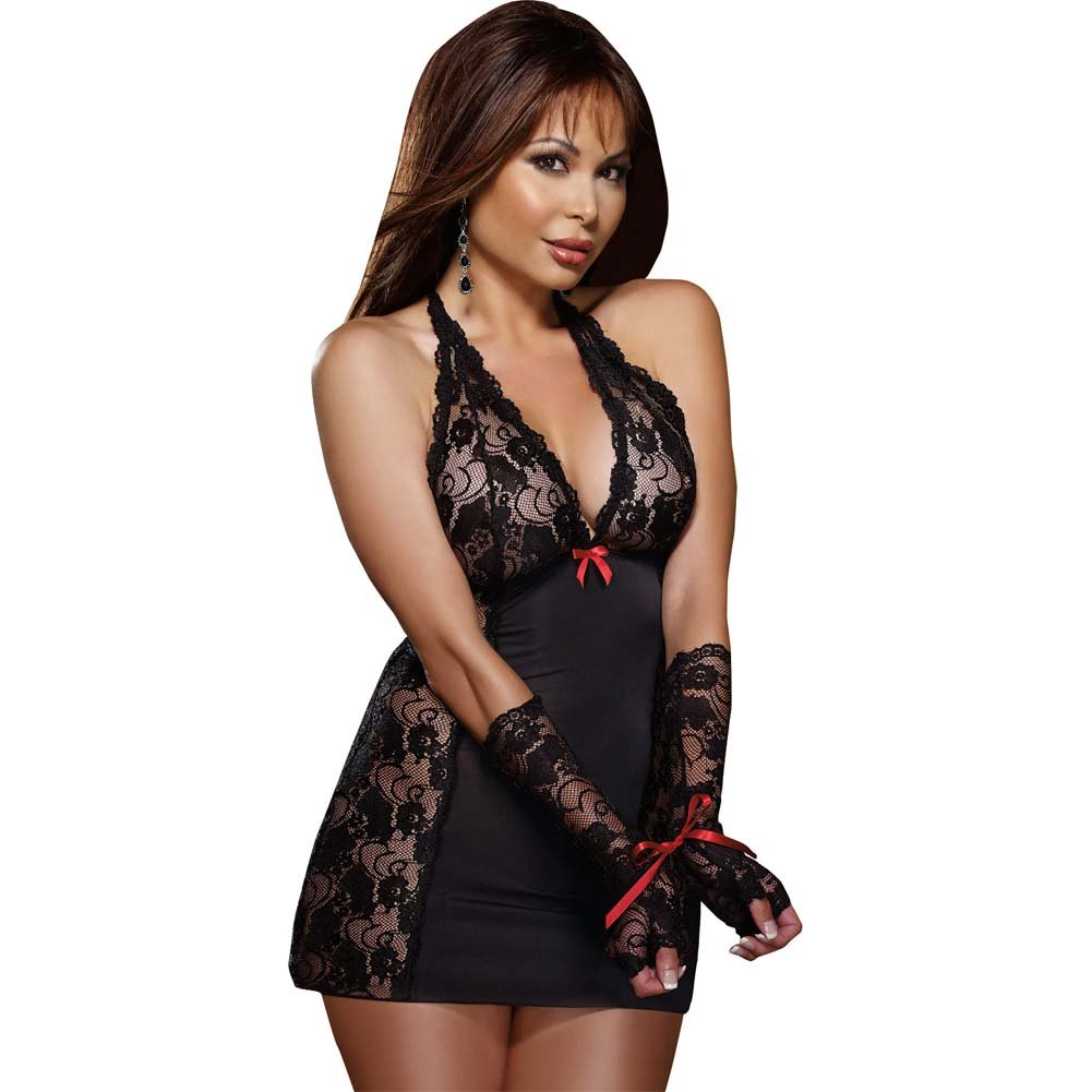 Dreamgirl Microfiber Halter Chemise with Stretch LaceThong and Fingerless Glove OS Queen Black - View #1