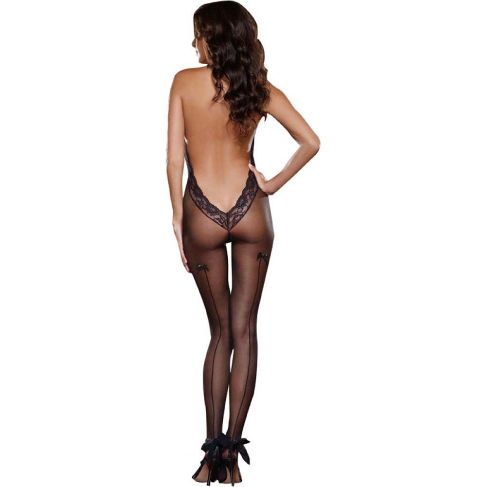 Dreamgirl Sheer Halter Bodystocking with Lace Trim and Low Back One Size Black - View #2