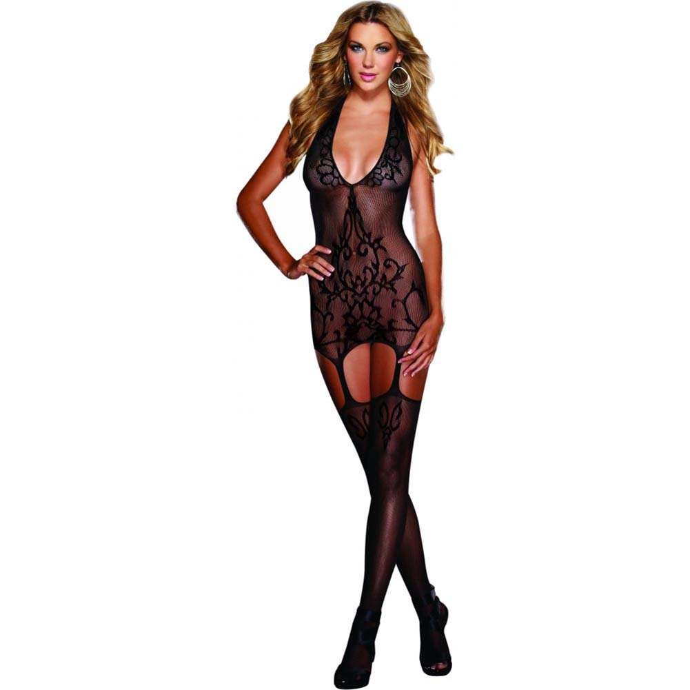 Dreamgirl Halter Garter Dress with Baroque Design Halter Tie and Stockings One Size Black - View #1