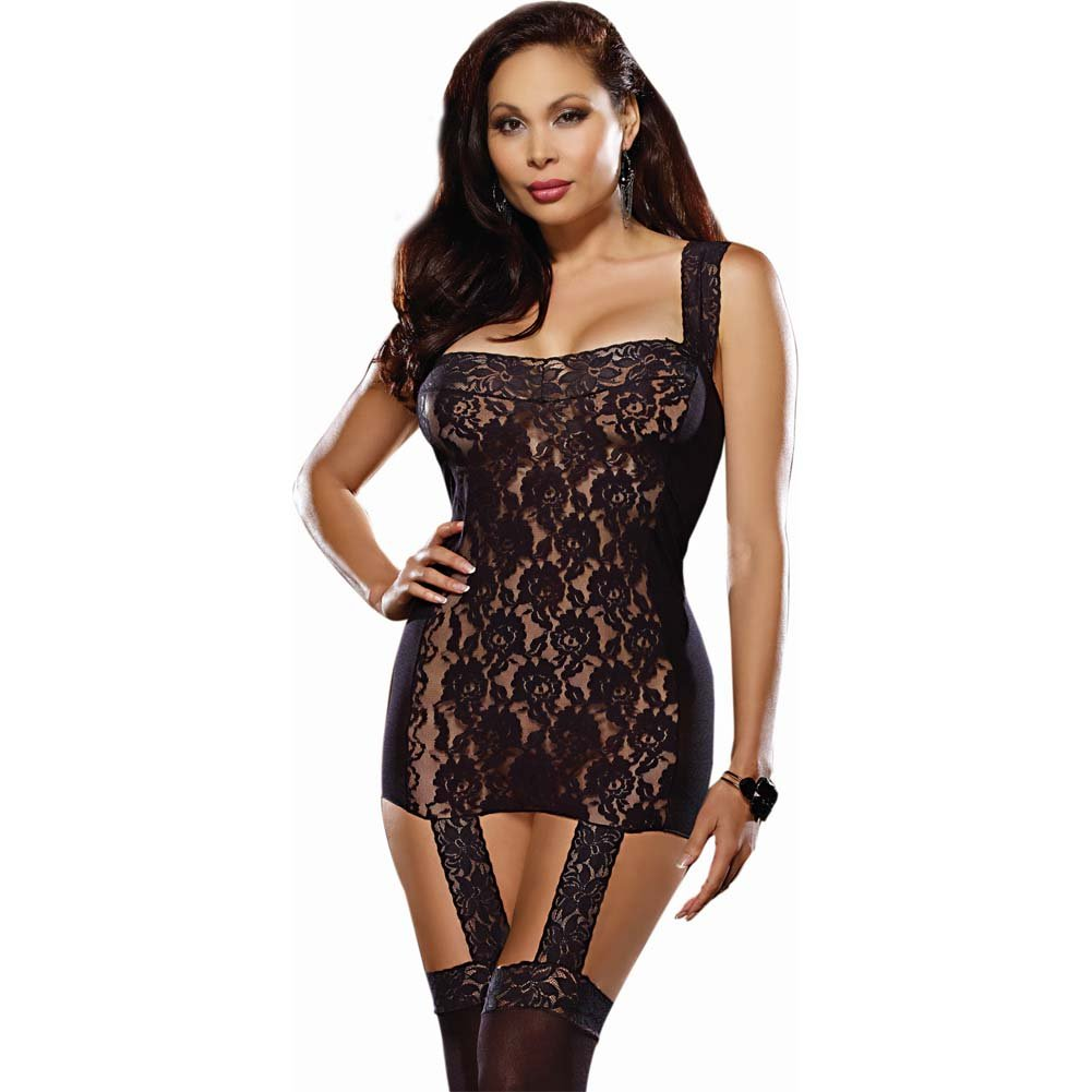 Lace Garter Dress with Stretch Straps Ribbon Back and Stockings Queen Size Black - View #2