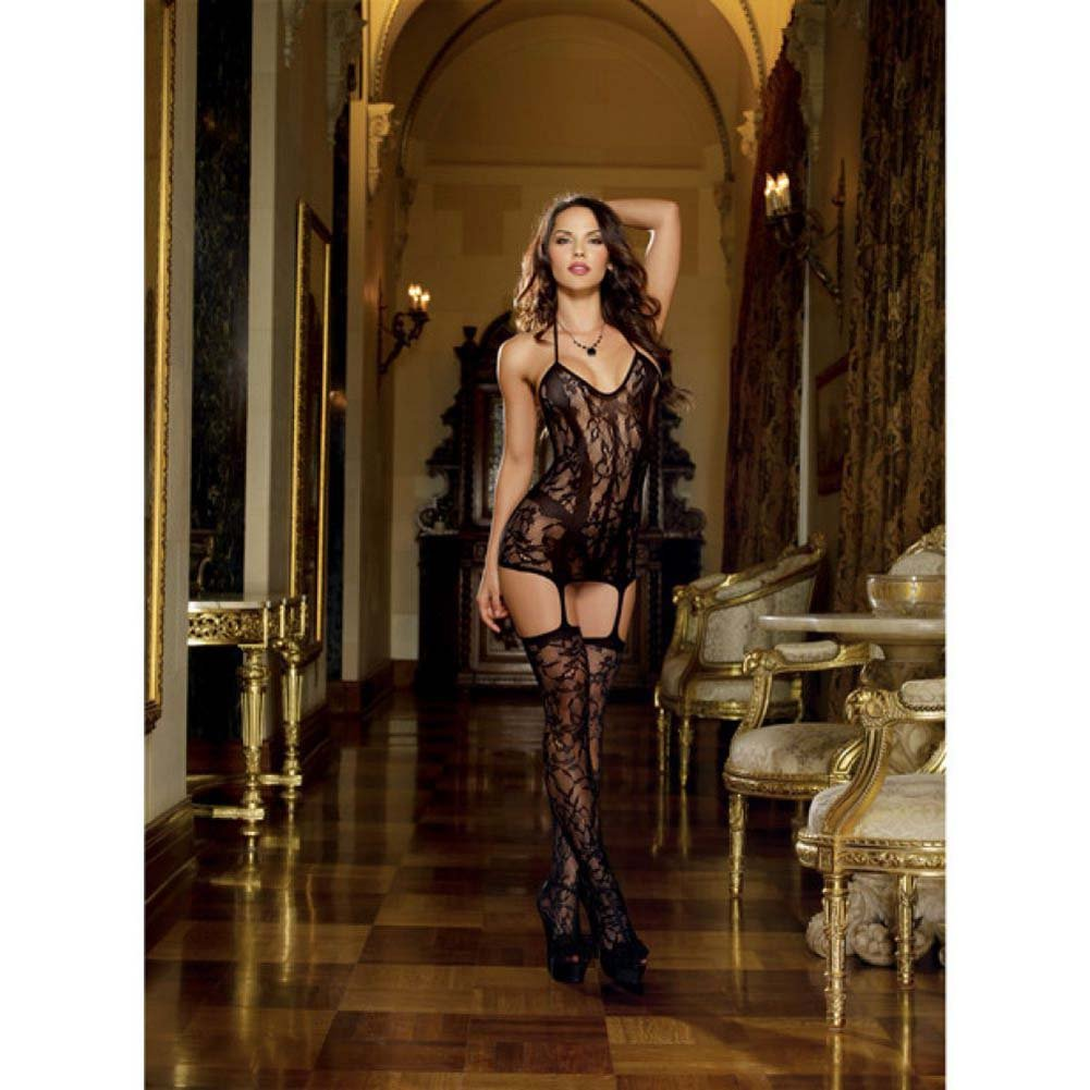 Dreamgirl Lace Fishnet Halter Garter Dress Halter Ties and Stockings One Size Black - View #3