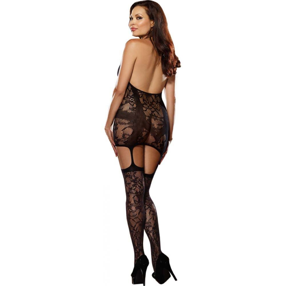 Lace Fishnet Halter Garter Dress Halter Ties and Stockings Queen Size Black - View #2
