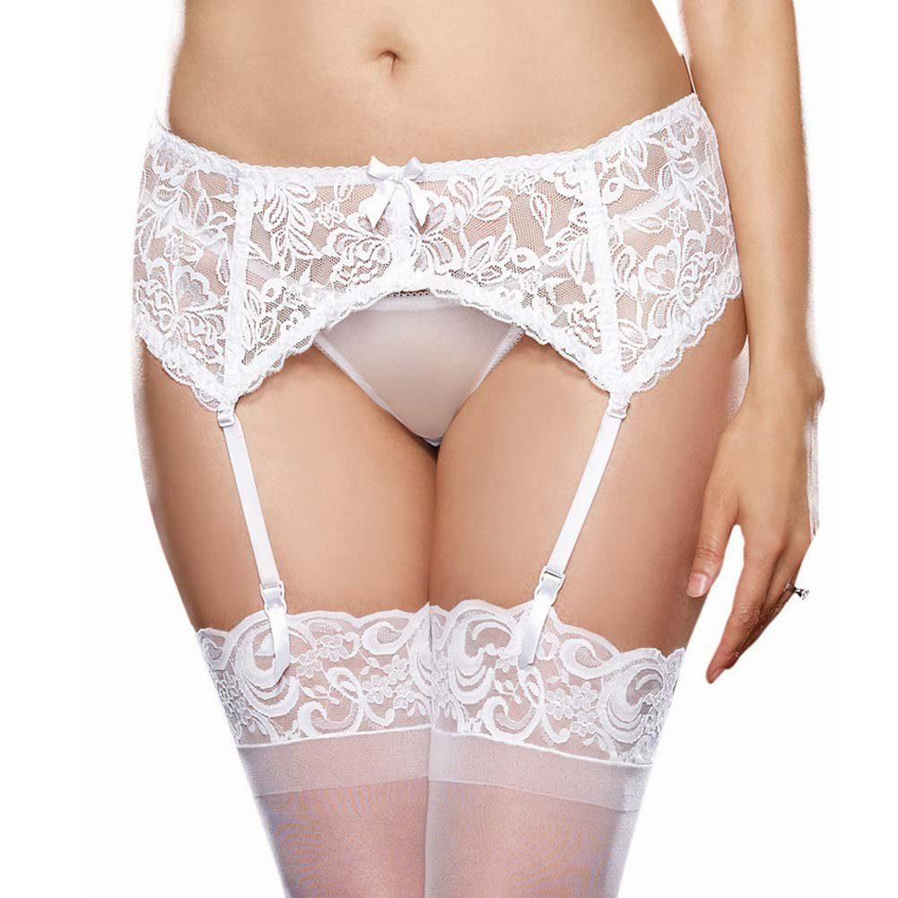 Dreamgirl Queen Size Lace Garter Belt with Scalloped Hem Frisky White - View #1